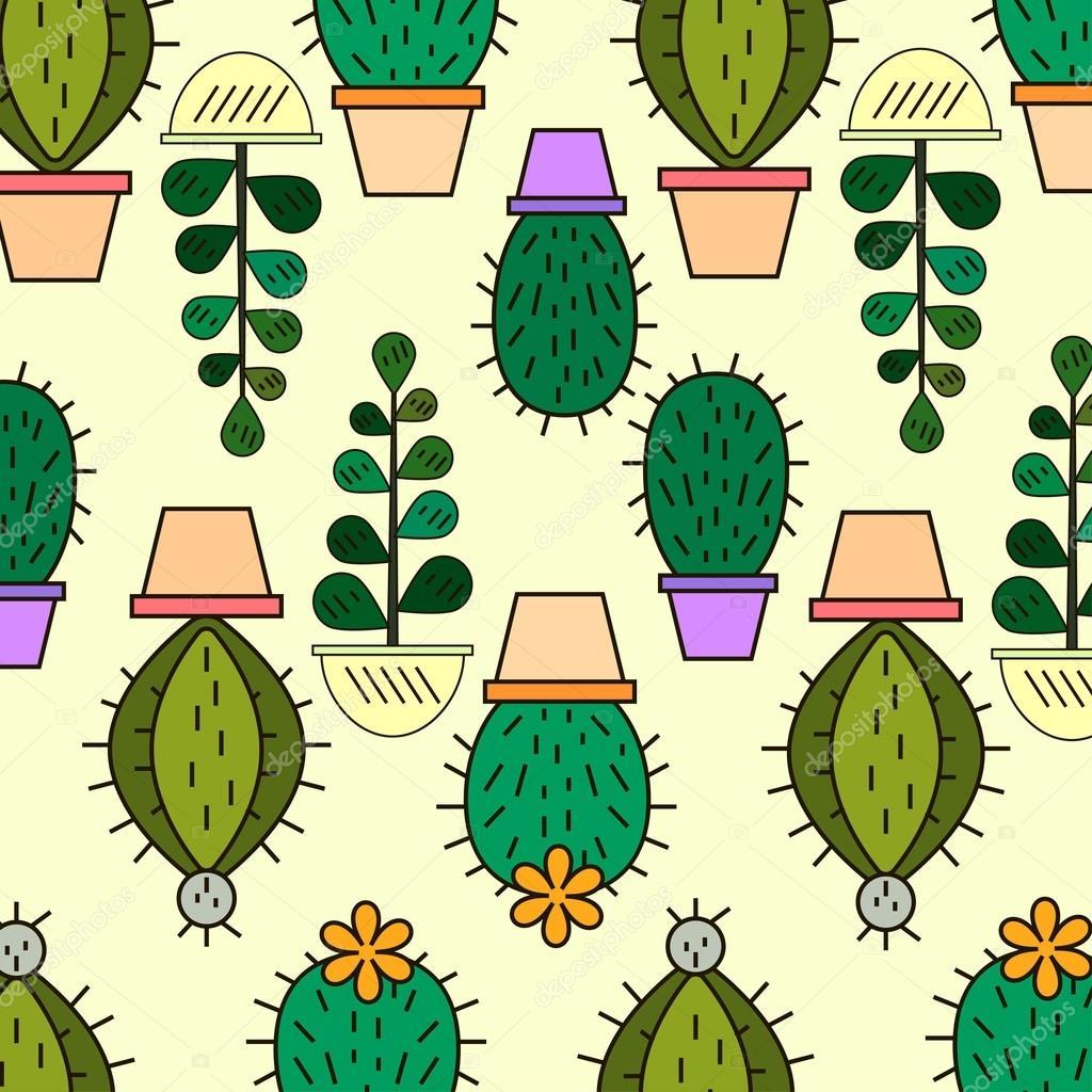 Mignon Fond Floral Handdrawn Avec Cactus Et Plantes Succulentes Dans