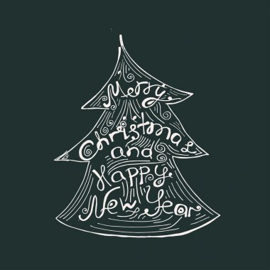 Merry Christmas and happy New Year- quote in a Christmas tree. Unique hand drawn typography poster. Design element for congratulation cards, banners and flyers.