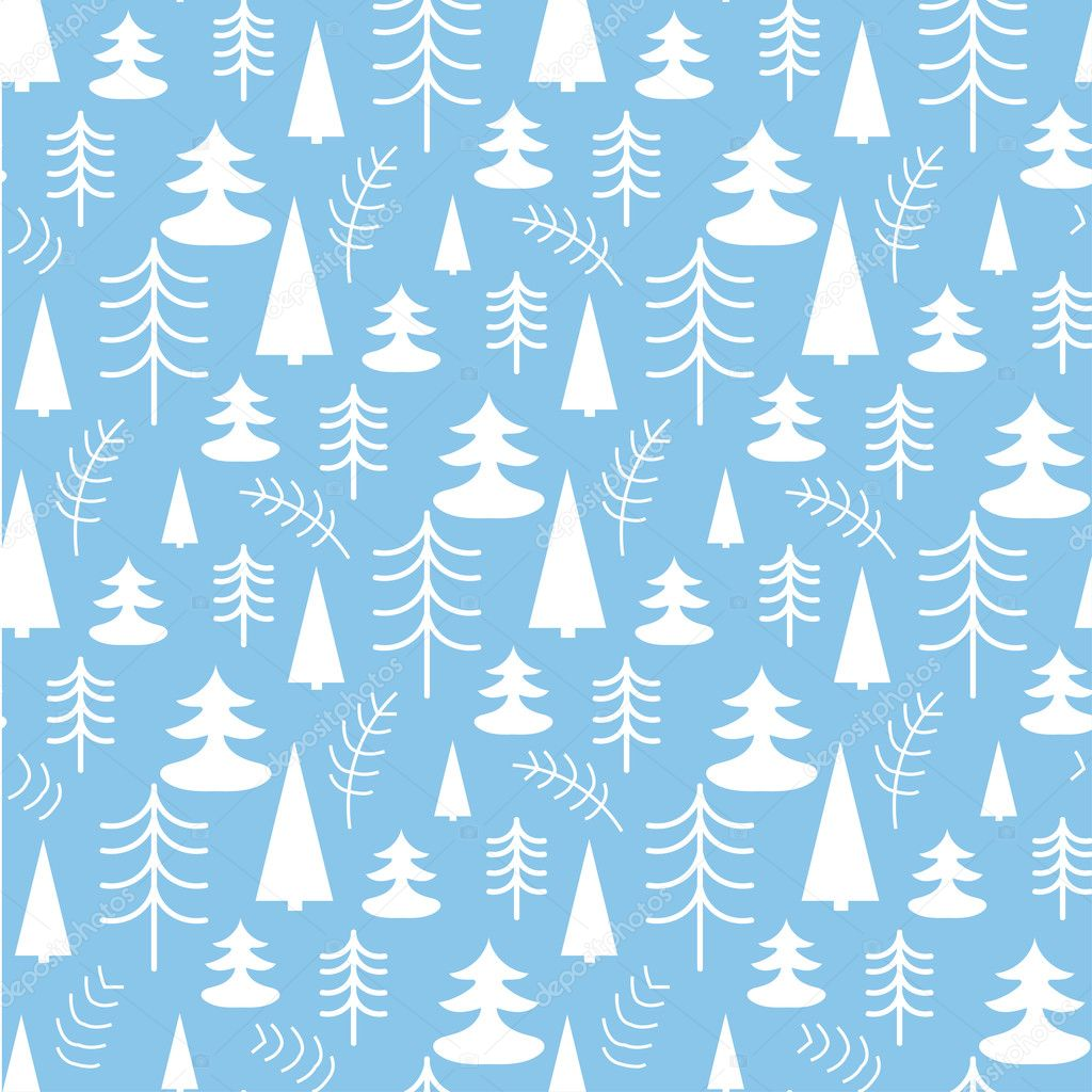 Seamless Christmas Pattern With Trees Ideal For Wrapping
