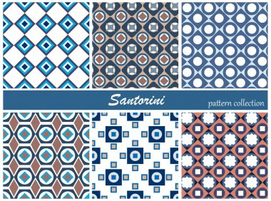 Collection of seamless patterns. Blue and white colors. Santorini island colors. Vector illustration