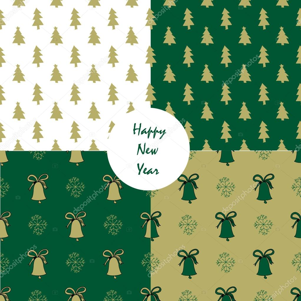 Set Of Seamless Christmas Patterns Ideal For Wrapping Paper