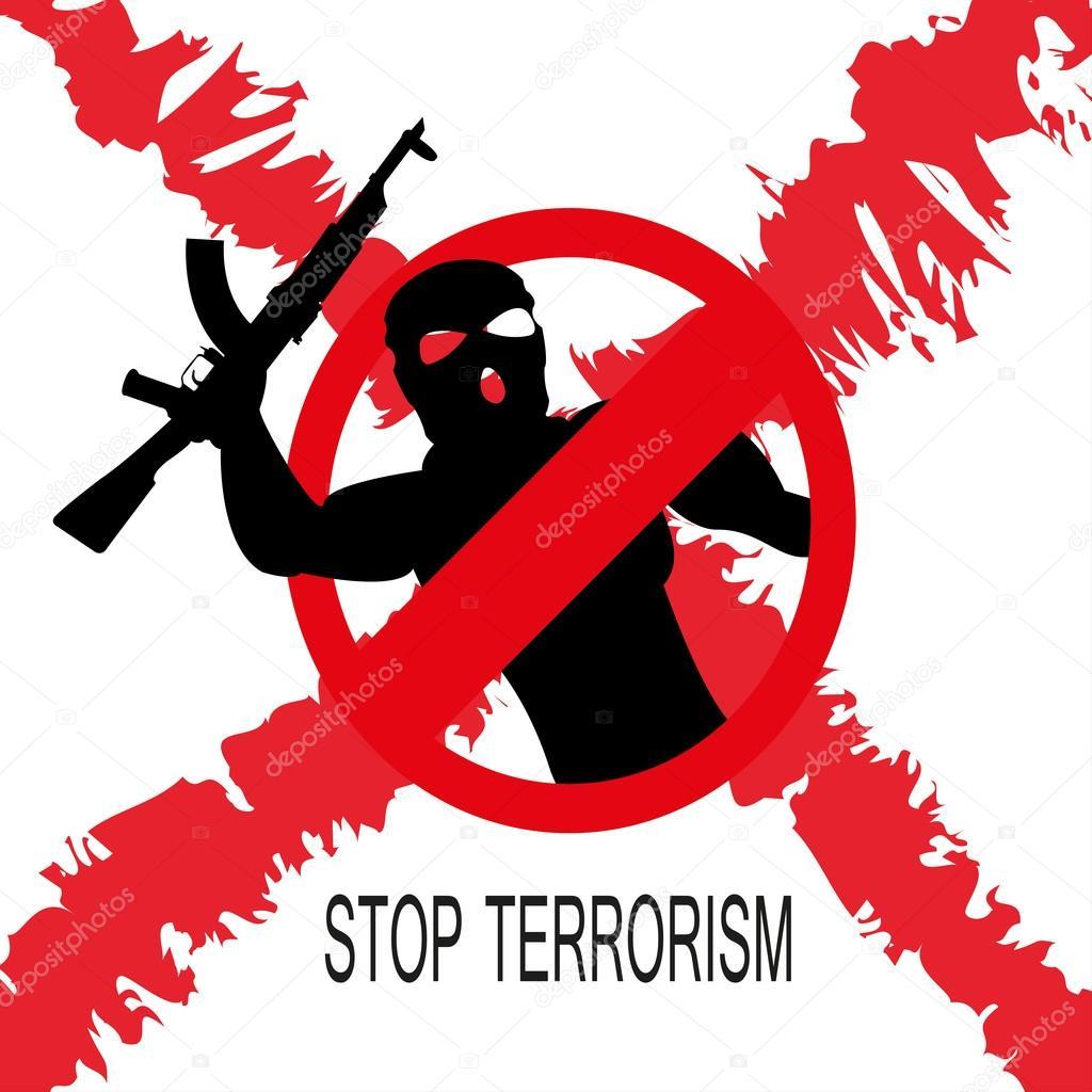 Stop terrorisme symbool — Stockvector © OPTI_mistka #115000116