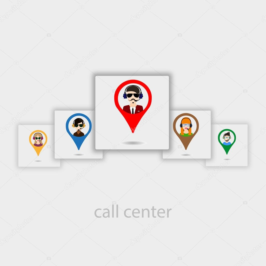 Operators of call center icons
