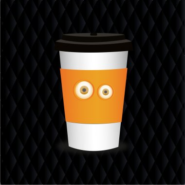 Takeaway coffee cup with eyes