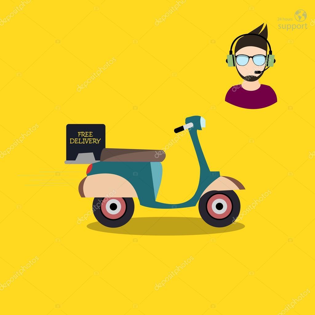 7a5c45596d Icona di vettore moderno design piatto consegna creativo scooter e  posizione Customer Support — Vettoriali di ...