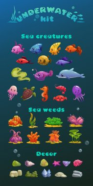 Cute cartoon underwater icons set