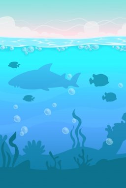 Cartoon vector vertical underwater landscape