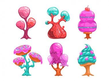 Cartoon sweet candy trees