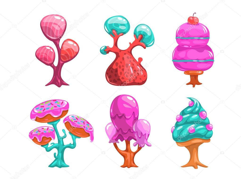 Imagenes De Un Arbol Animado: Árboles De Caramelo Dulce De Dibujos Animados