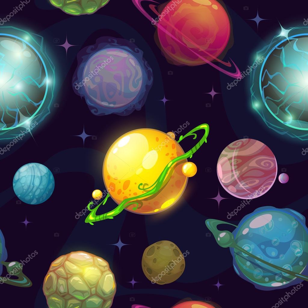 Patr n transparente espacio con planetas dibujos animados - Dibujos infantiles del espacio ...