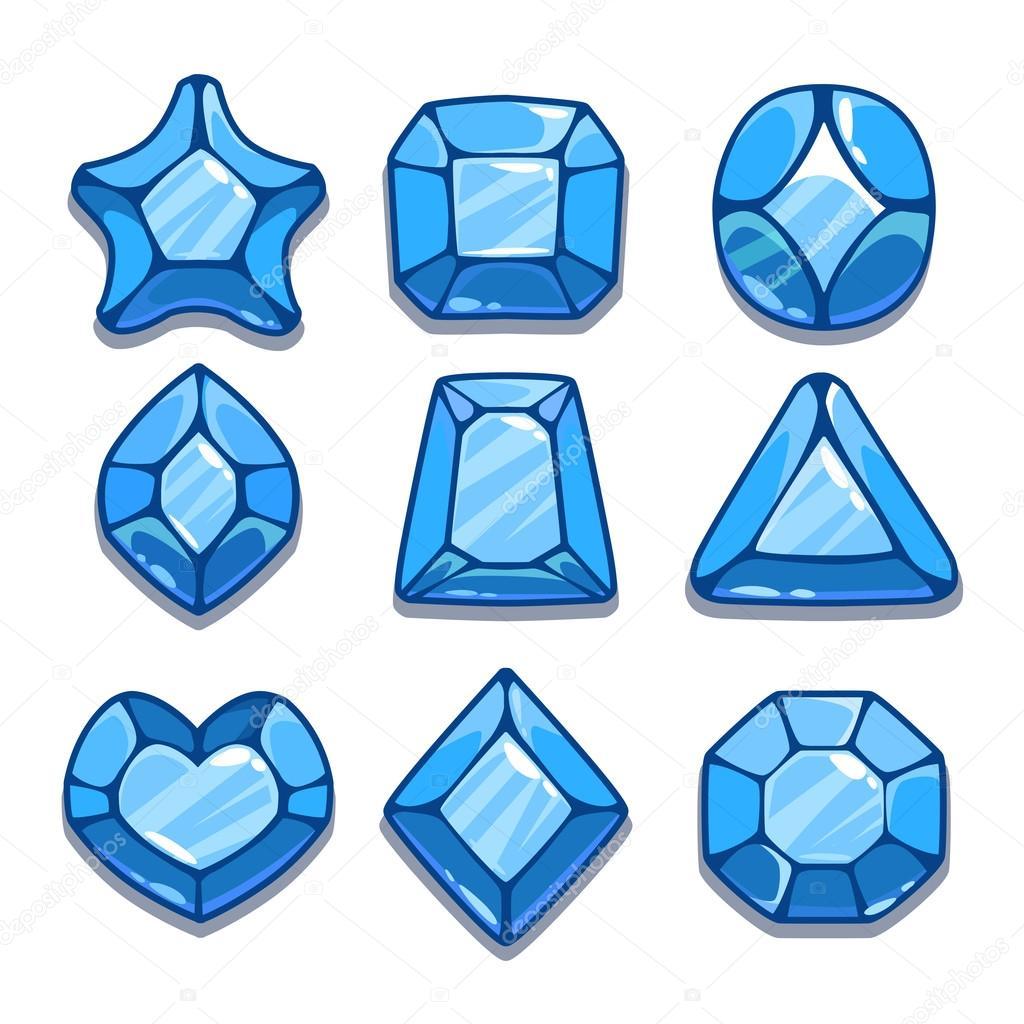 Pedras Preciosas De Diferentes Formas De Desenho Azul