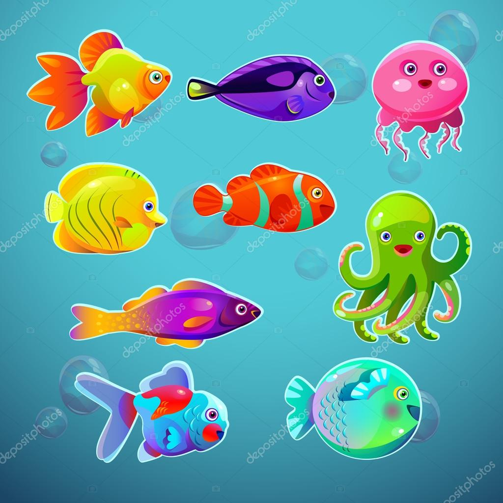 Insieme di pesci tropicali colorati del fumetto divertente for Immagini di pesci disegnati