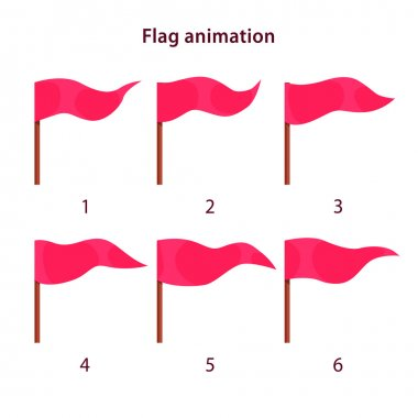Red triangle shape flag waving animation sprites