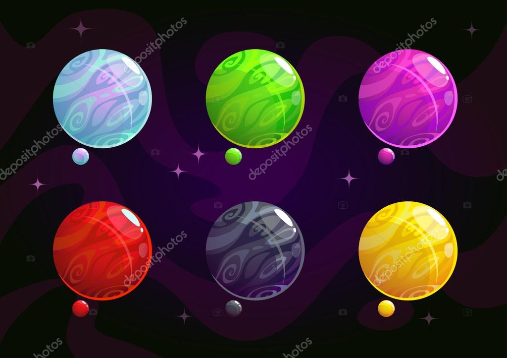 cool bright colorful fantasy planets stock vector lilu330 115465734