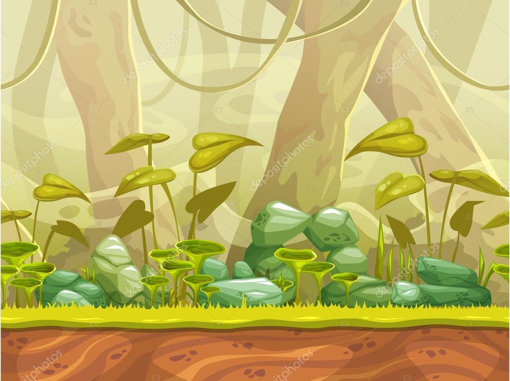 Cartoon seamless nature landscape