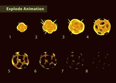 Fireball burst sprites for game design.