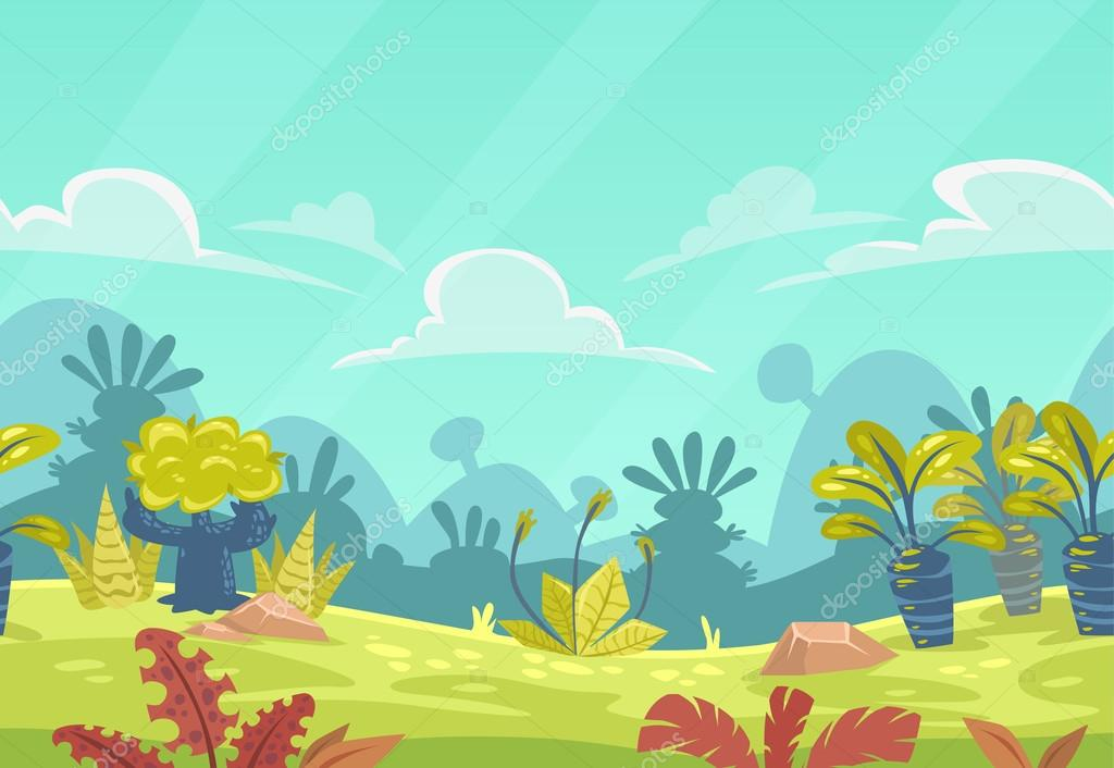 Cartoon seamless fantasy nature landscape.