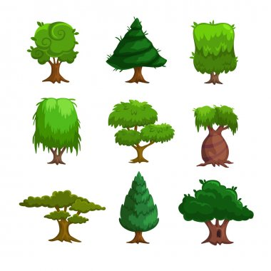 Cartoon trees, vector set stock vector