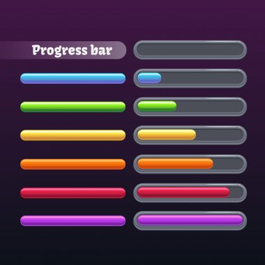 Colorful progress bar set, vector illustration clip art vector