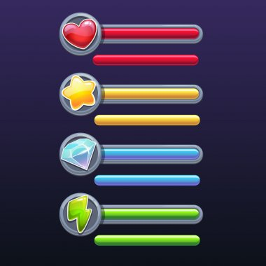 Game resources icons with progress bars, vector elements on the dark background clip art vector