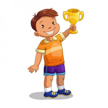 Boy with gold winner cup