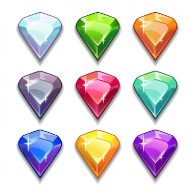 Gems and diamonds icons