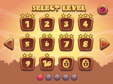 Level selection screen. Wooden game ui set clip art vector