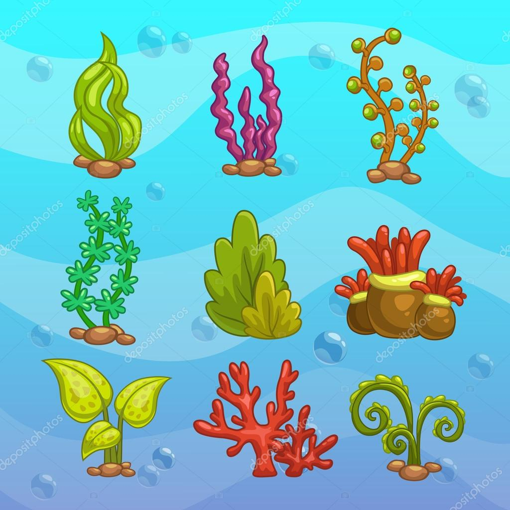 Dessin animé algues pour aquarium — Image vectorielle ... Водоросли Png