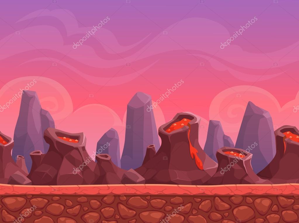 Seamless cartoon volcano landscape