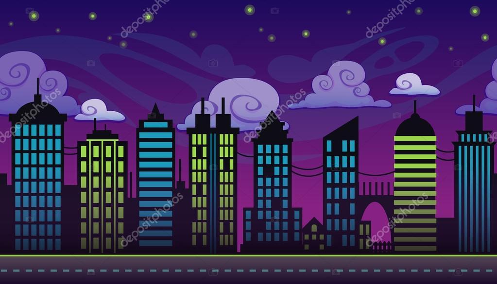 Dibujos ciudad de noche dibujo animados