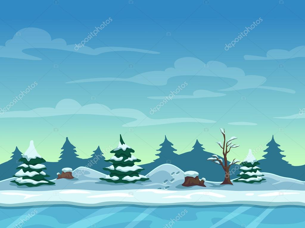 Seamless cartoon winter landscape