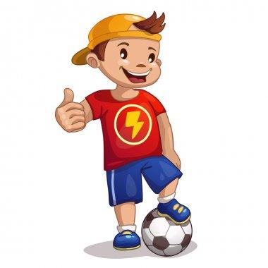 Cartoon boy with ball