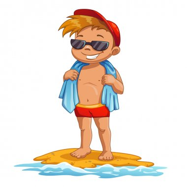 cartoon boy on the beach