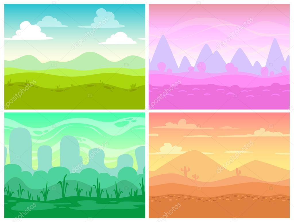 Seamless cartoon landscapes