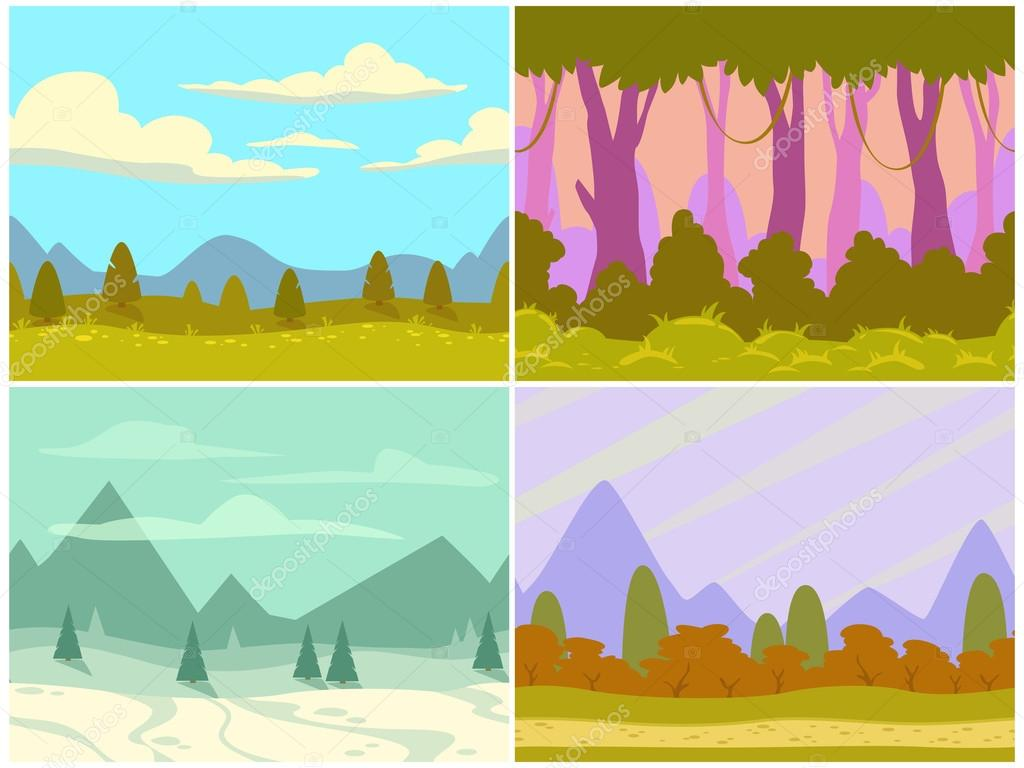 Seamless cartoon nature landscapes