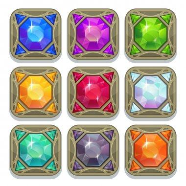 Set of colorful magic gemstones