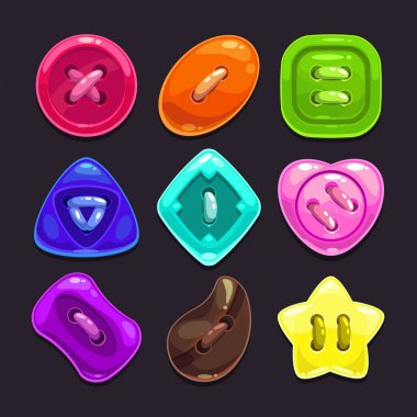 Set of cute bright colorful buttons