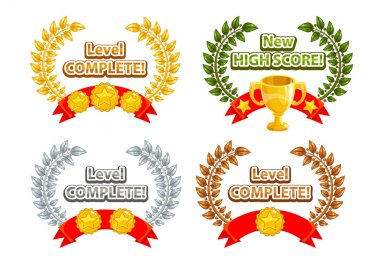 Game rating icons with stars and golden, silver, bronze laurel wreaths, inscriptions for game ending, level complete icon clip art vector