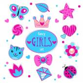 Cute girlish vector set