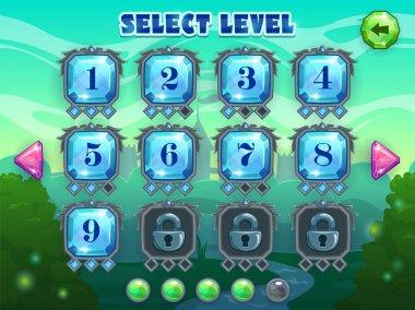 Level selection screen, vector game ui assets on fantasy landscape background clip art vector