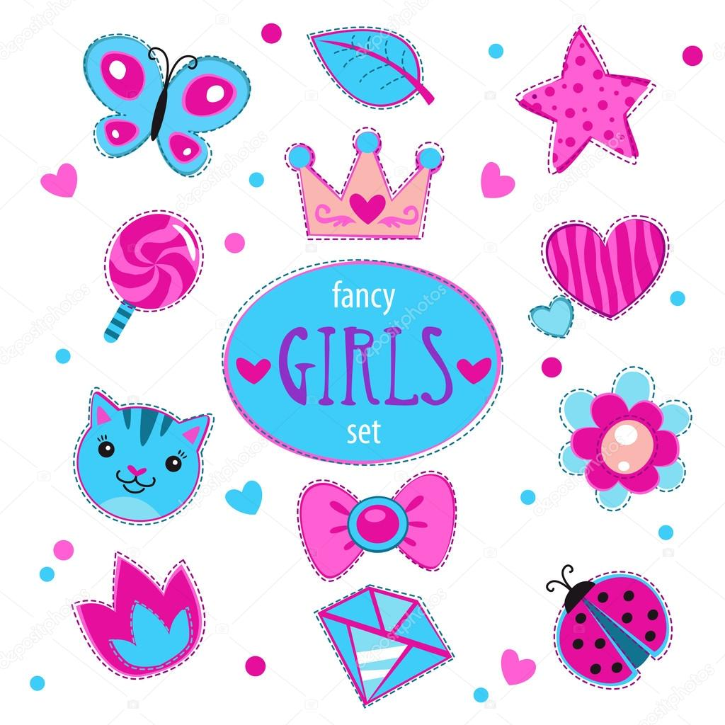 Cute girlish vector set