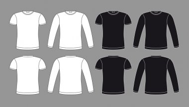 T-shirts icons in black and white colors