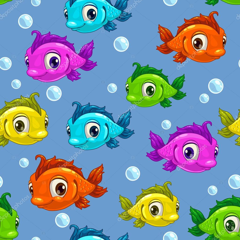 Seamless pattern with cartoon cute colorful fishes