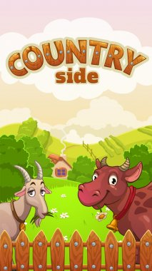 Cartoon countryside landscape with cow and goat