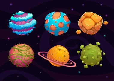 Set of cartoon fantasy planet on space background clip art vector