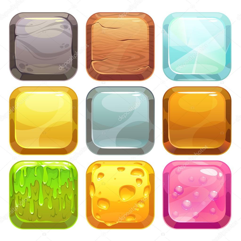 Cartoon square buttons set, app icons