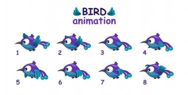 Funny blue cartoon bird flying sprites