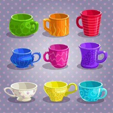 Colorful cartoon tea cups set