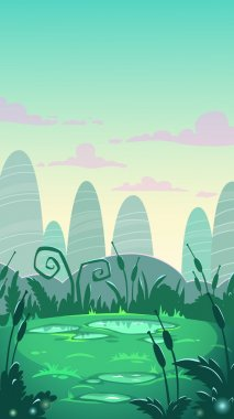 Cartoon vertical landscape illustration