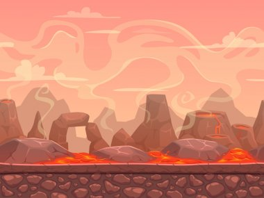 Seamless cartoon volcano desert landscape